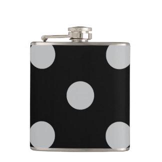 Large Polka Dots - Light Gray on Black Flasks