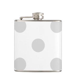 Large Polka Dots - Light Gray on White Flasks