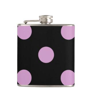 Large Polka Dots - Light Medium Orchid on Black Flask