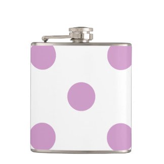 Large Polka Dots - Light Medium Orchid on White Flask