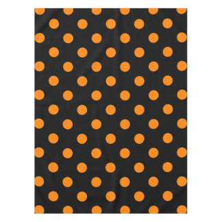 Large Polka Dots - Orange on Black Tablecloth