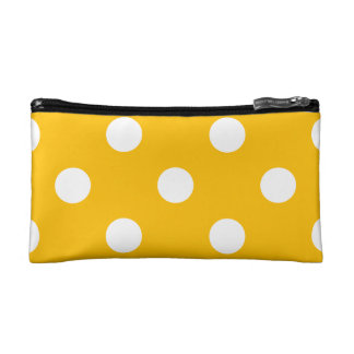 Large Polka Dots - White on Amber Cosmetic Bags