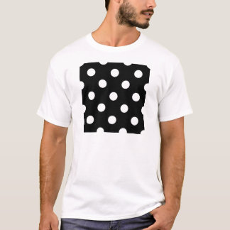 Large Polka Dots - White on Black T-Shirt
