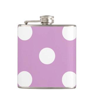 Large Polka Dots - White on Light Medium Orchid Hip Flask
