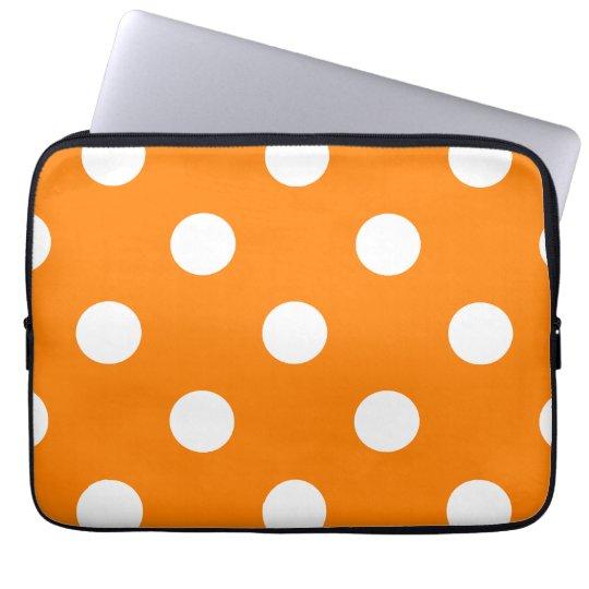 Large Polka Dots - White on Orange Laptop Sleeve