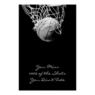 Large Pop Art Motivational Quote Basketball Poster