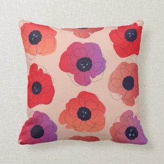 large poppy pop pop red on cream pillow