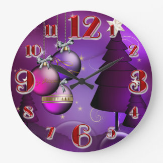 Large Purple Christmas Bauble Tree Wall Clocks