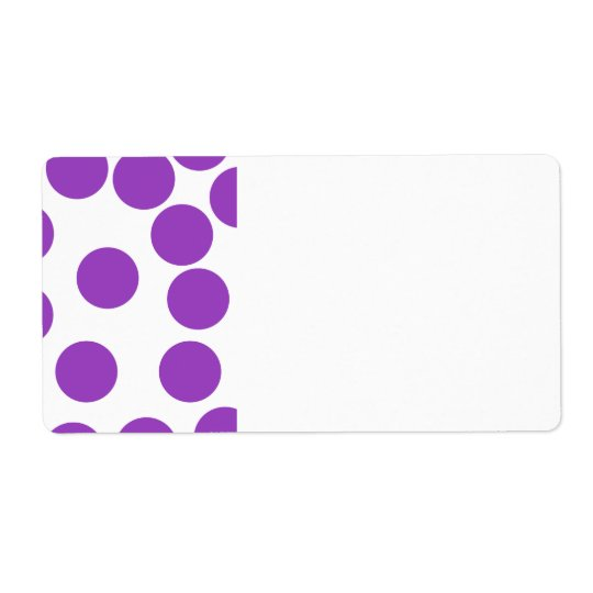 Large Purple Dots on White. Shipping Label