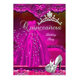 Large Quinceanera 15th Birthday Pink Dress 14 Cm X 19 Cm Invitation Card