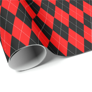 Large Red and Black Argyle Wrapping Paper