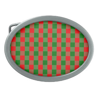 Large Red and Green Christmas Gingham Check Tartan Belt Buckles