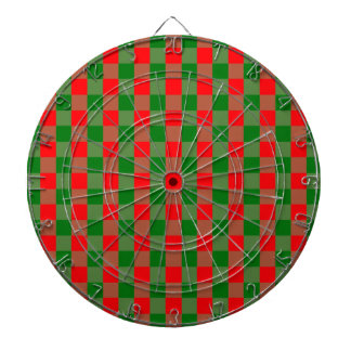 Large Red and Green Christmas Gingham Check Tartan Dartboard