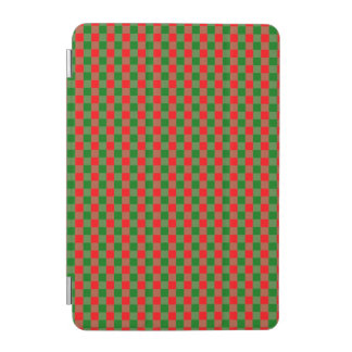 Large Red and Green Christmas Gingham Check Tartan iPad Mini Cover