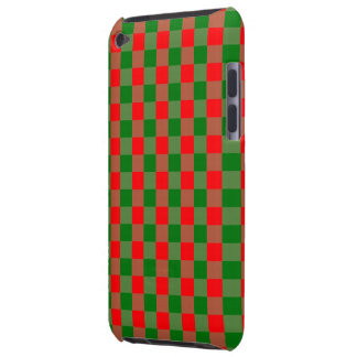 Large Red and Green Christmas Gingham Check Tartan iPod Touch Case-Mate Case