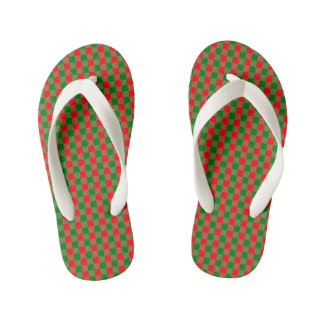 Large Red and Green Christmas Gingham Check Tartan Kid's Thongs