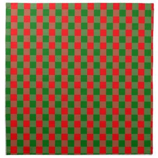 Large Red and Green Christmas Gingham Check Tartan Napkin