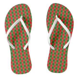 Large Red and Green Christmas Gingham Check Tartan Thongs