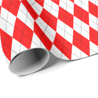 Large Red and White Argyle Wrapping Paper