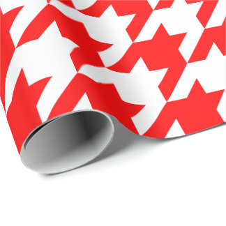 Large Red and White Houndstooth Wrapping Paper