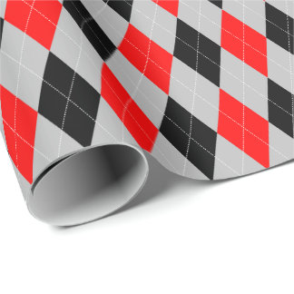 Large Red, Black and Gray Argyle Wrapping Paper