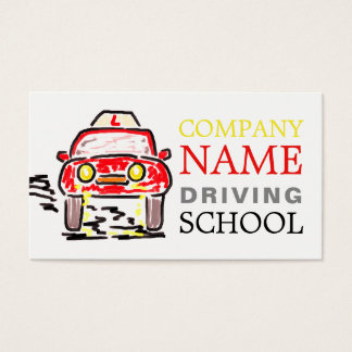 Large Red Cartoon Car Logo, Driving Instructor Business Card