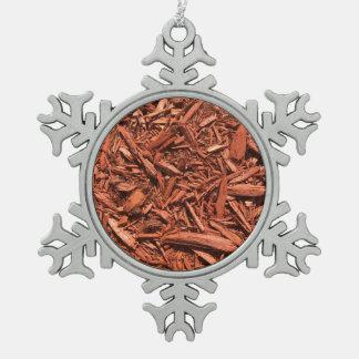 Large Red Cedar Mulch for Landcape Designer Snowflake Pewter Christmas Ornament