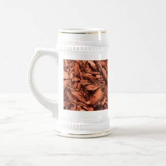 Large red cedar mulch pattern landscape contractor beer stein