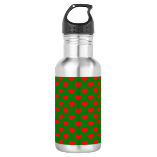 Large Red Christmas Hearts on Green 532 Ml Water Bottle