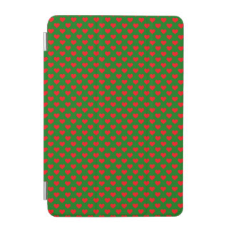 Large Red Christmas Hearts on Green iPad Mini Cover