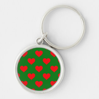 Large Red Christmas Hearts on Green Key Ring
