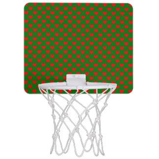 Large Red Christmas Hearts on Green Mini Basketball Hoop