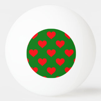 Large Red Christmas Hearts on Green Ping Pong Ball