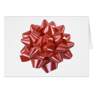 Large Red Christmas Present Bow ribbon Greeting Card