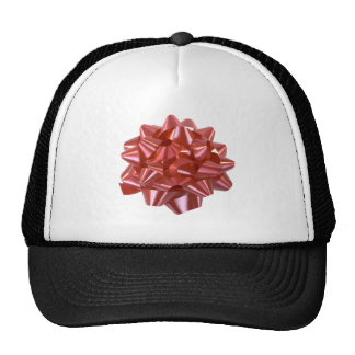 Large Red Christmas Present Bow ribbon Mesh Hats