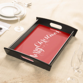 Large Red Merry Christmas Serving Trays