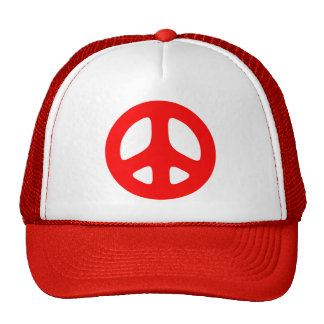 Large Red Peace Sign Trucker Hat