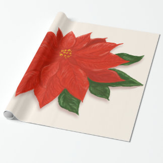 Large Red Poinsettia Wrapping Paper