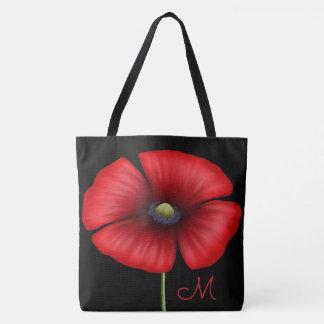 Large Red Poppy Monogram On Black Tote Bag