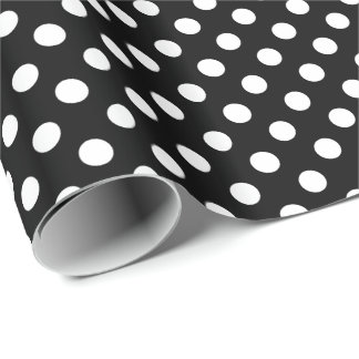 Large retro dots - black and white wrapping paper