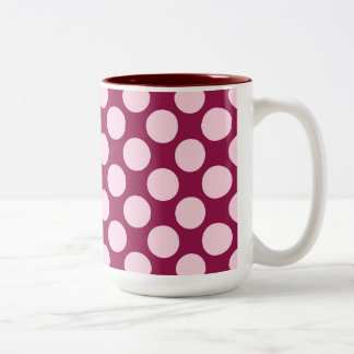 Large retro dots - burgundy and shell pink Two-Tone coffee mug