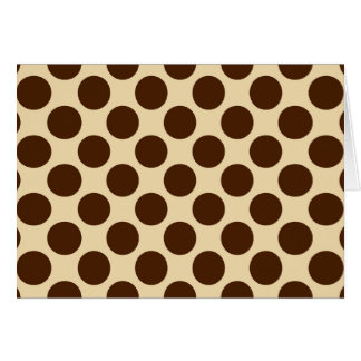 Large retro dots - chocolate brown and tan note card