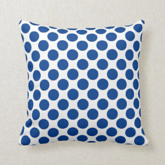 Large retro dots - cobalt blue and white throw pillow