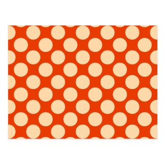 Large retro dots - pale orange and mandarin post cards