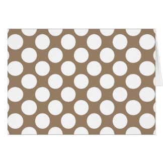 Large retro dots - white and taupe tan note card