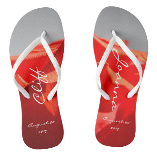 Large romantic red rose flip-flops thongs