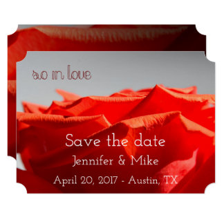 Large Romantic red rose save the date card