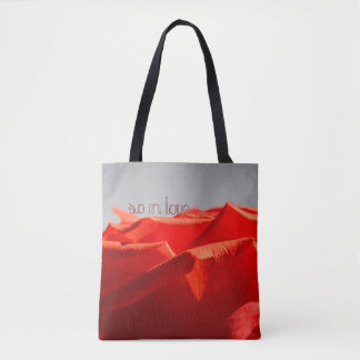Large romantic red rose tote bag