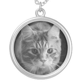 Large Round Necklace Maine Coon Cat