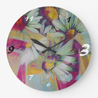 Large Round Wall Clock Daisy Flower Bouquet in Pin